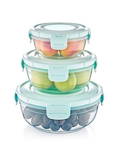 Piaff Home 3Lü Renkli Contalı Yuvarlak Saklama Kabı Set Renkli